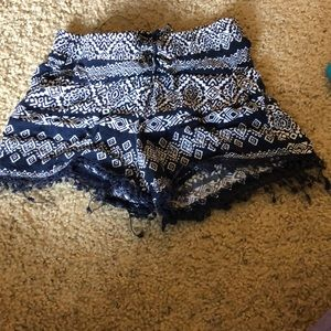 White and navy blue patterned shorts